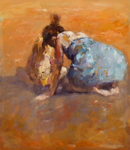 Mother & child, oil / canvas, 2013, 75 x 65 cm, Sold