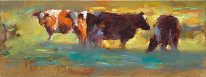 Red cows, oil / canvas, 2014, 30 x 80 cm, Sold