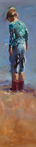 Red boots, oil / canvas, 2014, 120 x 30 cm, Sold