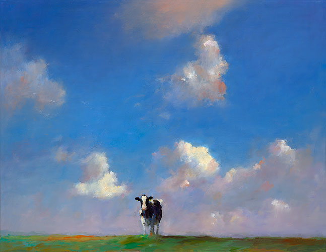 Cow in Frisianlandscape, oil / canvas, 2014, 70 x 90 cm, Sold
