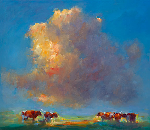 Red cows, oil / canvas, 2014, 70 x 80 cm, € 4.500,-