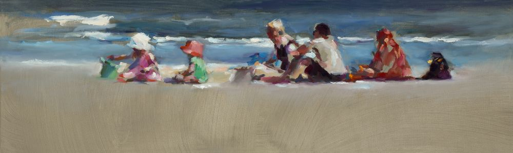 Beachfamily, oil / canvas, 2014, 30 x 100 cm, € 3.900,-