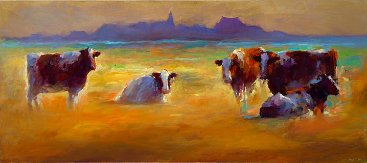 Red cows at Piaam, 80 x 180, 2014, 2014 cm, Sold