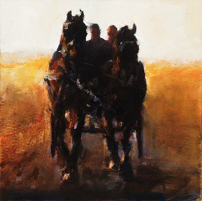 Team of horses, Oil / canvas, 2006, 50 x 50 cm, Sold