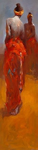 Model in red kimono, oil / canvas, 2015, 120 x 30 cm, Sold