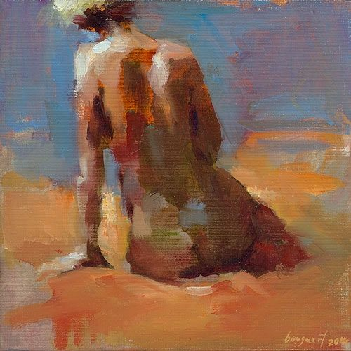 Sitting nude, oil / canvas, 2014, 20 x 20 cm, € 2.100,-