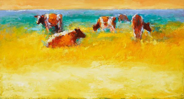 Red cows, Oil / canvas, 2006, 70 x 130 cm, Sold