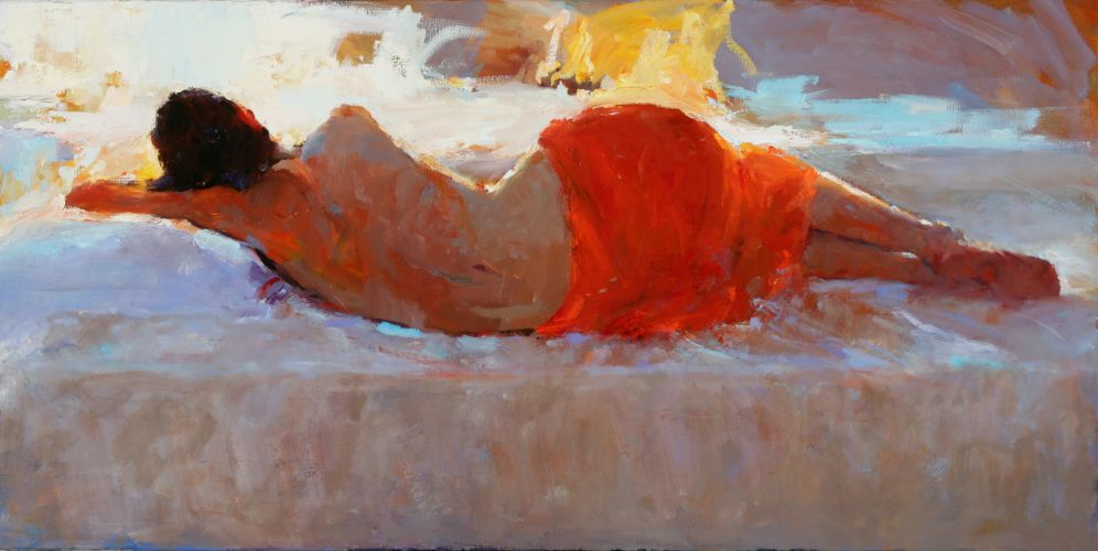 Reclining model in red, Oil / canvas, 2006, 50 x 100 cm, Sold