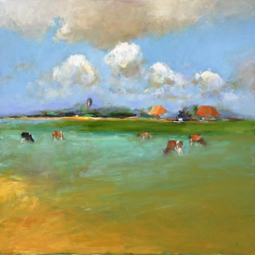 Frisian landscape III, Oil / canvas, 2006, 90 x 90 cm, Sold