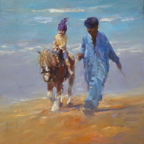 Horse riding Plage Abouda, oil / canvas, 2016, 100 x 100 cm, € 5.250,-