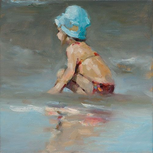 Blue hat, oil / canvas, 2016, 30 x 30 cm, € 2.250,-