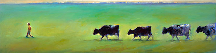 Pick up the cows, oil / canvas, 2016, 30 x 120 cm, € 3.250,-