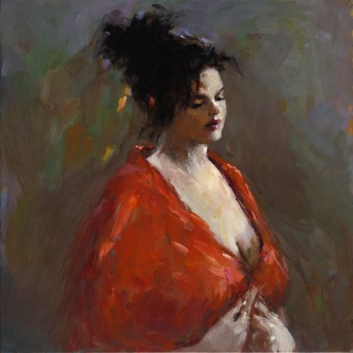Model in red, oil / canvas, 2017, 75 x 75 cm, Sold
