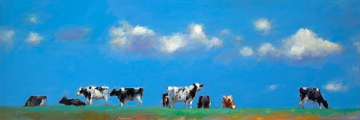 Cows on the dike, oil / canvas, 2017, 60 x 180 cm, Sold