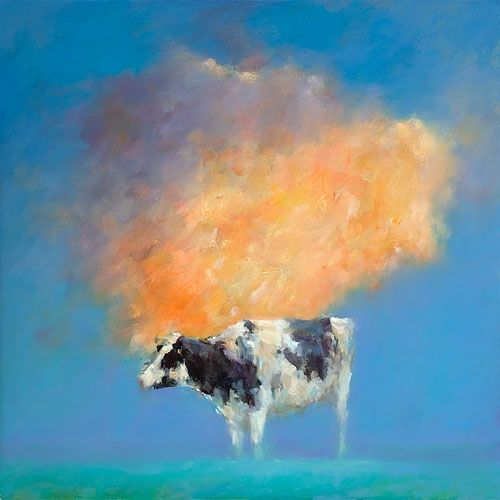 Cloud & cow, oil / canvas, 2017, 90 x 90 cm, € 5.500,-
