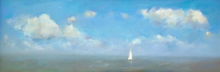 Sailingboat, oil / canvas, 2017, 40 x 120 cm, Sold