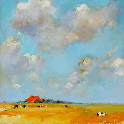 Frisian landscape IV, Oil / canvas, 2006, 40 x 40 cm, Sold