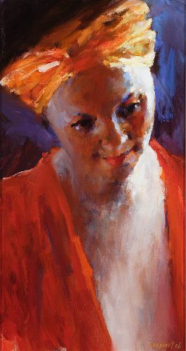 Model with orange hair-ribbon, Oil / canvas, 2006, 50 x 26 cm, Sold