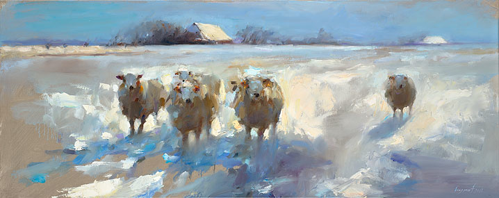 Sheep in the snow, oil / canvas, 2018, 40 x 100 cm, Sold