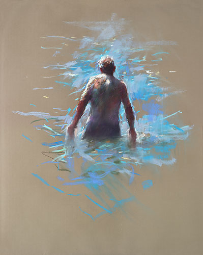 Old man in the sea, pastel, 2018, 100 x 70 cm, € 3.250,-