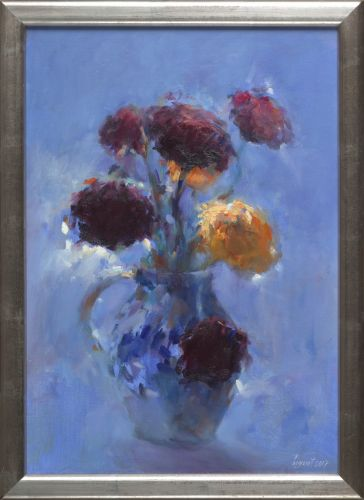 Stillife with flowers, oil on canvas, 2018, 50 x 35 cm, Sold