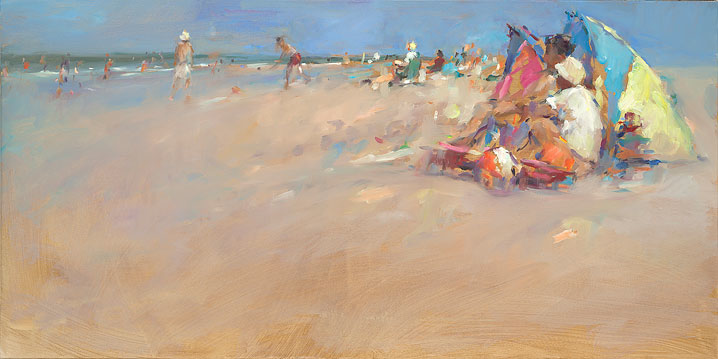 A day at the beach, oil on canvas, 2018, 70 x 140 cm, Sold