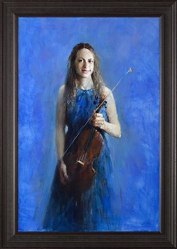 model with violin, oil / canvas, 2019, 120 x 80 cm, Sold