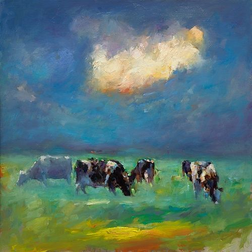 Cloud & cows, oil / canvas, 2019, 100 x 100 cm, € 5.500,-
