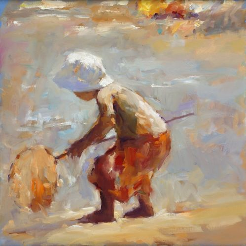 Little fisherman, oil on canvas, 2019, 60 x 60 cm, Sold