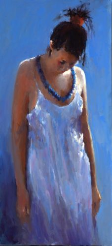 Model in blue, Oil / canvas, 2007, 120 x 55 cm, Sold