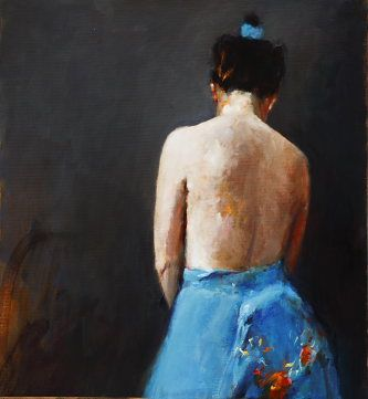 Nude seen from behind, Oil / canvas, 2007, 40 x 40 cm, Option