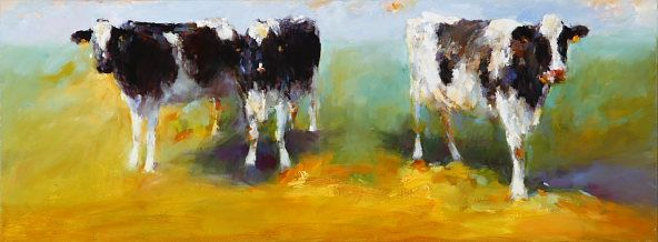 Cows, Oil / canvas, 2007, 30 x 80 cm, Sold