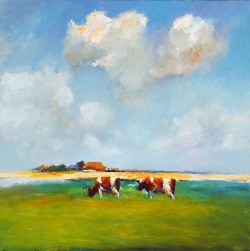 Frisian landscape, Oil / canvas, 2007, 100 x 100 cm, Sold