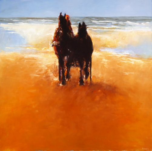 Team of horses IV, Oil / canvas, 2007, 150 x 150 cm, Sold