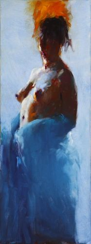 Model in backlight, Oil / canvas, 2007, 80 x 30 cm, Option