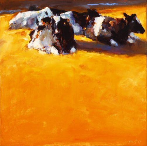 Cows in summery light, Oil / canvas, 2007, 40 x 40 cm, Sold