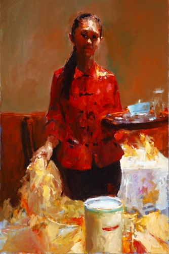 Wok girl, Oil / canvas, 2007, 120 x 80 cm, € 7.000,-
