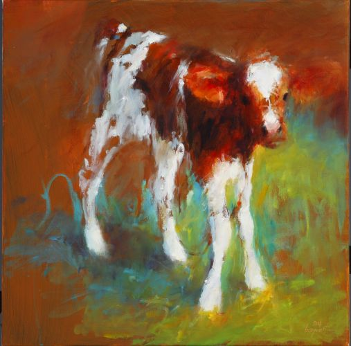 Little calf, Oil / canvas, 2008, 50 x 50 cm, Sold