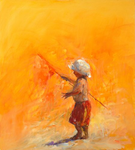 Flag bearer, Oil / canvas, 2008, 100 x 90 cm, Sold