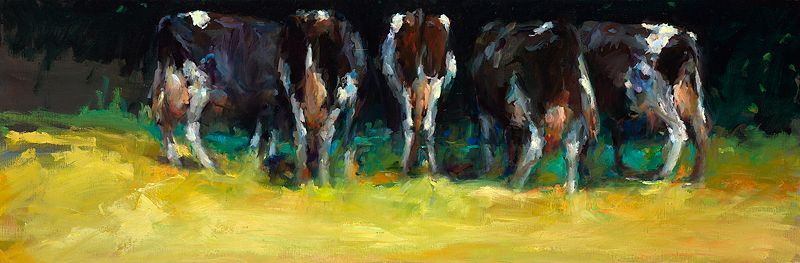Cows in summery light II, Oil / canvas, 2008, 40 x 120 cm, Sold