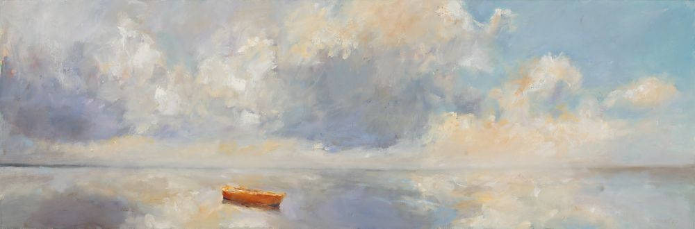 Rudderless boat, Oil / canvas, 2008, 40 x 120 cm, Sold