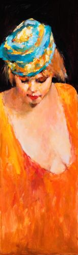 Model with hat, Oil / canvas, 2008, 50 x 16 cm, Sold
