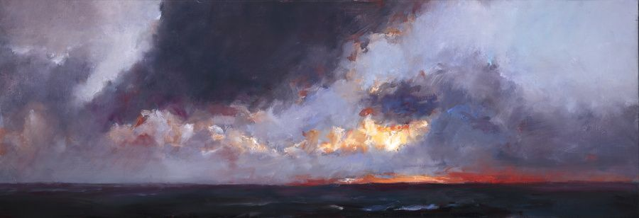 Sunset, Oil / canvas, 2008, 40 x 120 cm, Sold