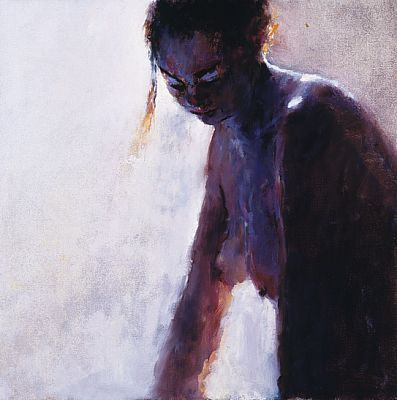 Model in blue, Oil / canvas, 1999, 50 x 50 cm, Sold