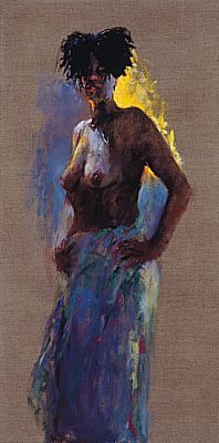 Model with feather hat, Oil / canvas, 1999, 100 x 50 cm, Sold