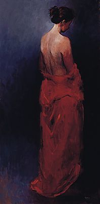 Model in red, Oil / canvas, 1999, 160 x 60 cm, Sold
