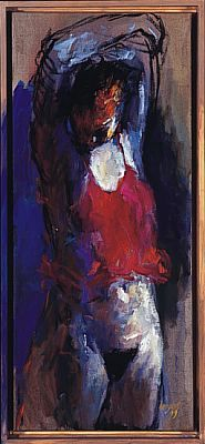 Standing nude, Oil / canvas, 1999, 70 x 30 cm, Sold