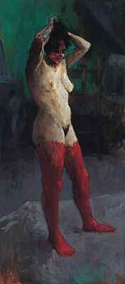 Standing nude with red stockings, Oil / canvas, 2001, 180 x 80 cm cm, Sold