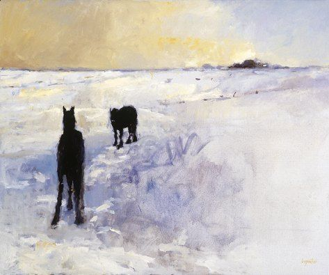 Horses in the snow, Oil / canvas, 2001, 100 x 120 cm cm, Sold