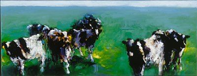 Cows, Oil / canvas, 2000, 35 x 90 cm cm, Sold